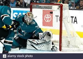 Calgary Flames score on San Jose Sharks goaltender Aaron Dell (30 ...