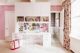 Shared Kids Desk With Bulletin Board Backsplash Contemporary Girl S Room