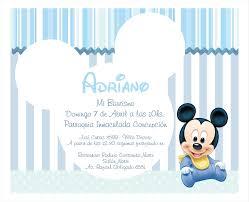 Invitacion Bautismo Baby Mickey Primer Cumpleanos De Mickey