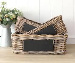 set 3 cane baskets with blackboard