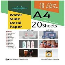 Nova Horizon Mi218nh Mixed Waterslide Decal Paper For Inkjet Printer 20 Sheets 10 White 10 Clear Transparent A4 Size Premium Quality Water Slide