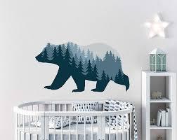 Bear Wall Stickers Woodland Animal Wall Decal Bear Wall Etsy In 2020 Woodland Wall Decals Bear Wall Decal Woodland Wall