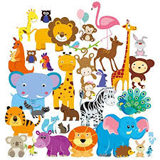 Wall Decals Safari Adventure Decorative Peel Stick Animal Art Sticker For Baby S Kids Room Nursery And Playroom 55 Pcs Educational Toys Planet
