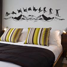 Snowboarding Over The Mountains Vinyl Wall Decals