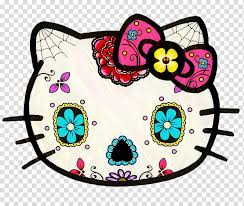 Day Of The Dead Skull Hello Kitty Calavera Decal Sticker Tattoo Hello Kitty Car Decal Candy Transparent Background Png Clipart Hiclipart