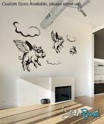 3 Flying Pigs Fairy Tales Vinyl Wall Decal Sticker Etsy Vinyl Wall Decals Wall Decal Sticker Flying Pig
