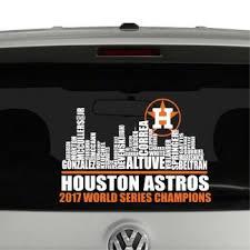 Houston Astros Team Skyline World Champions Vinyl Decal Sticker Cosmic Frogs Vinyl