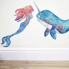 New Mermaid Now Available And Of Course Mr Narwhal Too X Mermaid Wall Decals Narwhal Art Whale Wall Decals