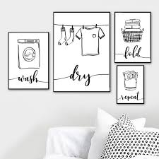 Wall Art Print Canvas Painting Nordic Poster Wash Dry Fold Repeat Laundry Sign Black White Pictures Bathroom Home Decor Modular Wish