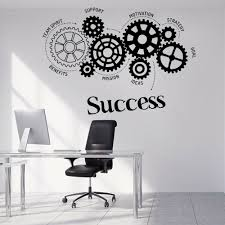 Office Motivation Vinyl Wall Decal Quotes Success Words Gears Office Study Wall Stickers Originality Wall Decoration Poster Z338 Wall Stickers Aliexpress