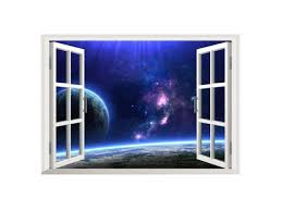 Outer Space Earth 3d Window Decal Wall Stickers For Kids Room Living Room Bedroom Newegg Com