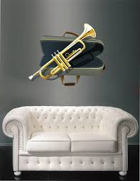 Cik401 Full Color Wall Decal Trumpet Musical Instrument Jazz Music Roo Stickersforlife