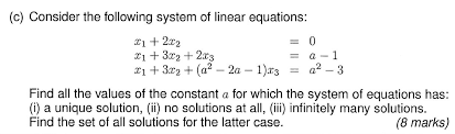 following system of linear equations