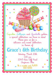 Sweet Shop Cumpleanos Fiesta Invitaciones Dulces Cupcake