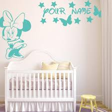 Cartoon Mickey Mouse Girls Name Wall Stickers Mini Mouse Butterflies C Overhalfsale