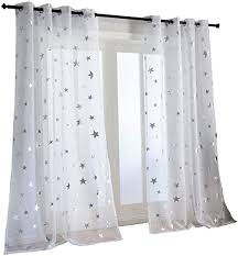 Amazon Com Kotile Silver Star Print 63 Inch Length 2 Panels White Short Curtains For Kids Room Grommet Window Drapes Voile Sheer Curtain Panels For Nursery Room Furniture Decor