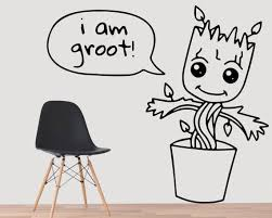 Groot Wall Decal Groot Pot Groot Planter Baby Groot Planter Guardians Of The Galaxy Superhero Avengers Marve Wall Decals Wall Decor Decals Vinyl Colors