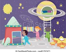 Stickman Kids Room Space Theme Illustration Illustration Of Stickman Kids Sleeping In An Outer Space Themed Bedroom