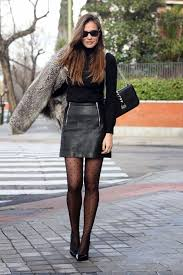 leather skirt and tights outfit