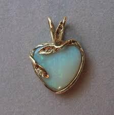 australian opal heart pendant set in