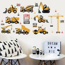 cute excavator construction wall decals