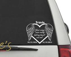 Car Decals Memorial Car Decals Remembrance Car Decal Remembrance Ideas Angel Wings Vinyl Car Decal In Memory Memorial Decals Car Decals Car Decals Vinyl