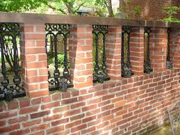 Custom Built Wrought Iron Brick Privacy Wall Fence Design Brick Fence Backyard Fences