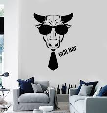 Vinyl Wall Decal Grill Bar Barbecue Cooking Bbq Food Meat Bull Head St Wallstickers4you
