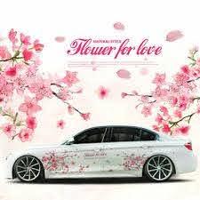 A Pair Pink Cherry Blossom Car Sticker Lovely Auto Doors Flower Decal Emblem Ebay