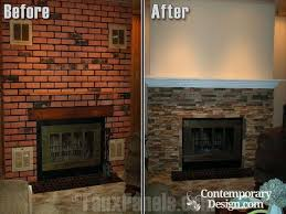 red brick fireplace makeover brick