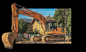 hd wallpaper yellow komatsu excavator