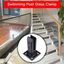 Black U Clamp Stainless Steel Glass Panel Pool Fence Staircase Bracket Spigot Balustrade Floor Deck Mount Support Clamp Square Parts Accessories Aliexpress