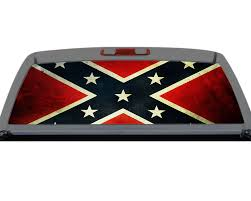 Confederate Flag Southern Rebel Rear Window Decal Truck Suv Perf Perforation Torn Rebel