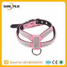bling rhinestone leather dog harness