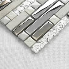 stone glass silver mosaic metallic wall