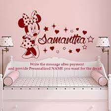 Minnie Mouse Name Wall Decal Vinyl Decals Sticker Custom Name Decals Personalized Baby Girl Name Decor Bedroom Nursery Baby Room Decor X70 Baby B01f73kz6s
