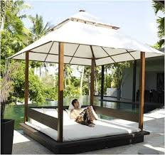 cabana rattan garden daybed with canopy