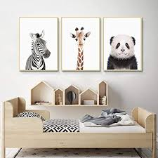 Amazon Com Slagman Zebra Giraffe Panda Poster Baby Animal Prints Canvas Painting Nursery Woodland Wall Art Kids Room Decoration 3 Pieces Wall Pictures Baby Gift 20 X28 X3pcs No Frame Home Kitchen