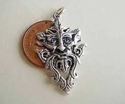 the green man sterling silver pendant