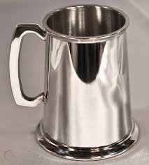 glass bottom pewter tankard beer mug
