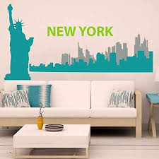 Amazon Com Vinyl New York Wall Decal New York City Wall Sticker New York Skyline Wall Mural Wall Graphic Living Room Art Decor C Liberty Teal City1 Teal City2 Slate Gray Words Lime Tree Green Home Kitchen
