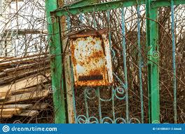Old Metal Rusty Mailbox Letterbox Vintage Vintage Box For Paper Traditional Letters Hanging On A Rusty Iron Fence Stock Image Image Of Door Design 141555411