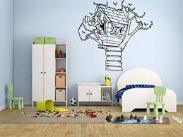 Amazon Com Wall Decal Sticker Bedroom Tree House Small Hut Cabin Cartoon Kids Boys Teenager Room 584b Baby