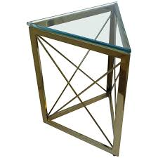 modern triangle brass and glass side or