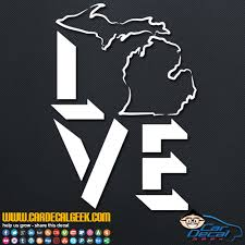 Michigan Love Car Window Decal Sticker Michigan Decals