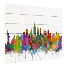 Trademark Global Michael Tompsett New York City Skyline Wood Slat Art