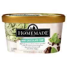 homemade brand mint chocolate chip ice