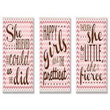 The Kids Room By Stupell Pink Chevron Inspirational She Believed She Could 3 Pc Wall Plaque Set 11 X 0 5 X 15 Proudly Made