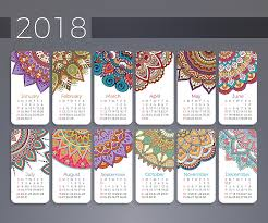 2018 calendar flower mandala digital