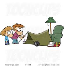 Cartoon Kids Setting Up A Camping Tent In A Living Room 1531 By Ron Leishman